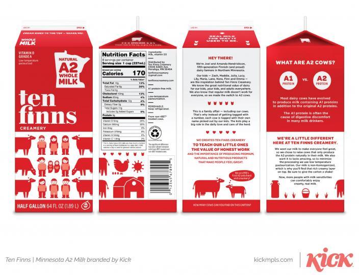 Kick Creates Dairy Brand for MN Finnish Dairy Farmer with Ten Kids
