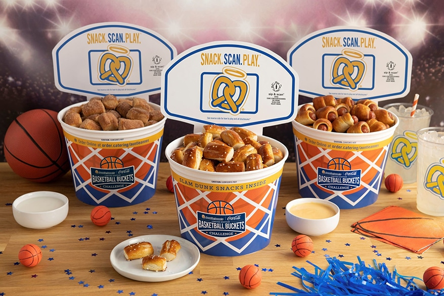 Basketball-themed Auntie Anne's Pretzel Buckets Celebrates March Madness