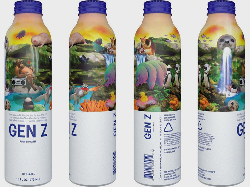 New Water Brand, GEN Z Water, Debuts with Bold, Quirky Design