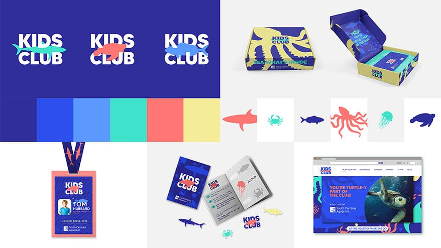 Grupo imasD's winning concepts, including the welcome kit shipper, membership card/badge, new logo, new colorway, stamp collection book, and Kids Club website with virtual oceanography lessons.