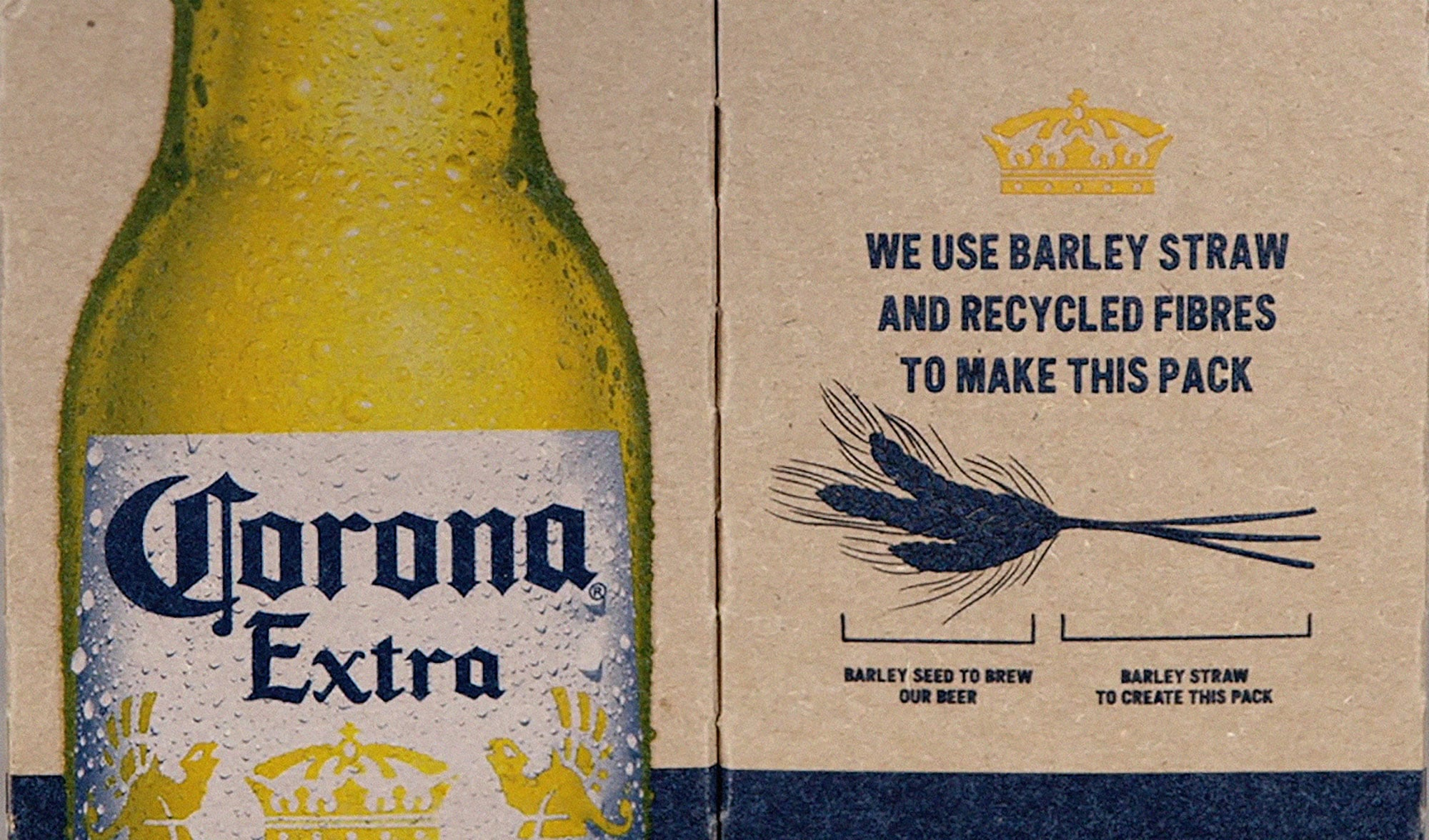 A smart graphic quickly communicates the eco benefits of using barley straw to create the packaging.