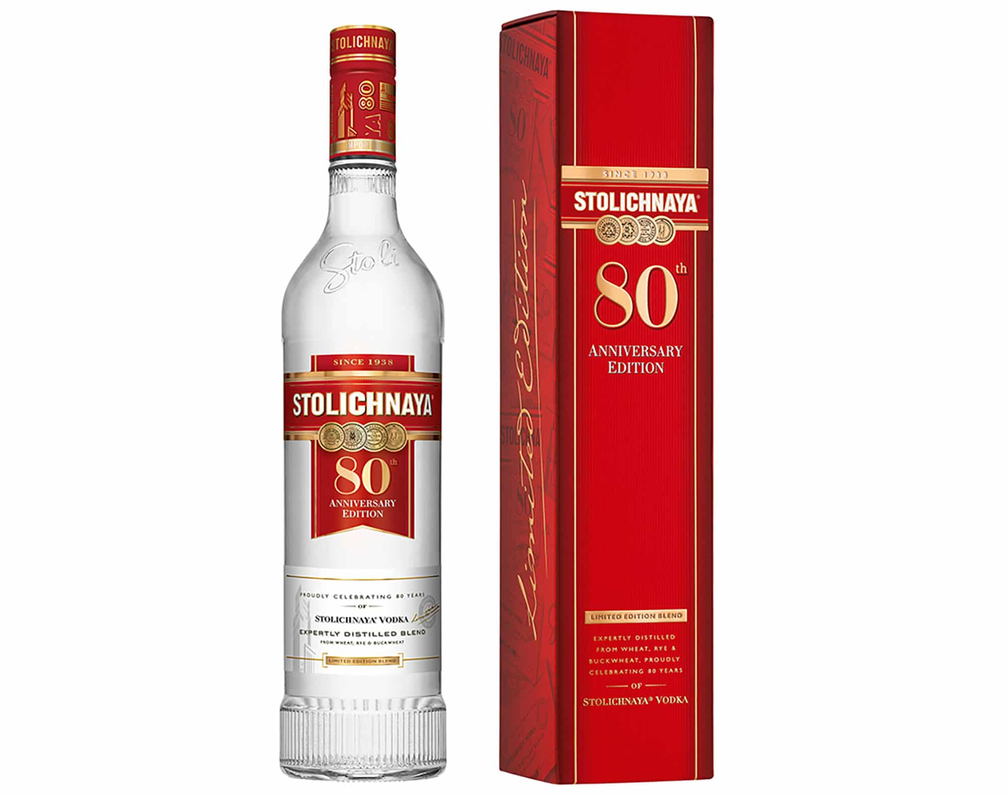 Stoli Vodka 80th anniversary vodka featured a variation of the traditional Stolichnaya recipe, a limited edition bottle and a decorative gift box.
