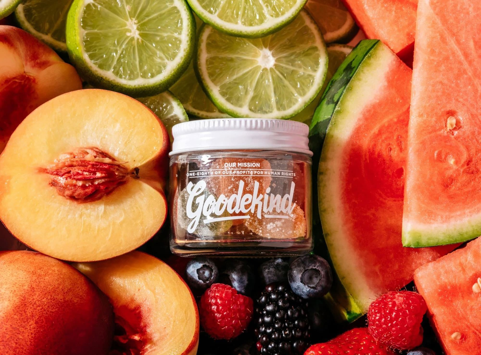 Goodekind's Delta 8 THC Gummies debuted in two types of sustainable packaging—a lightweight bag and the recyclable-and-reusable jar pictured here.